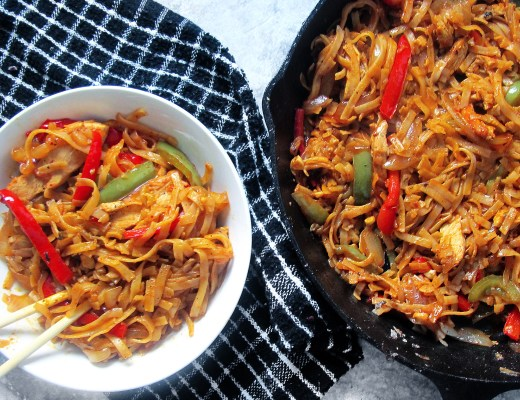 Spicy Chicken Noodle Stir Fry- A restaurant quality dish that's easy to make! You can substitute the chicken for any protein you love. Nom!