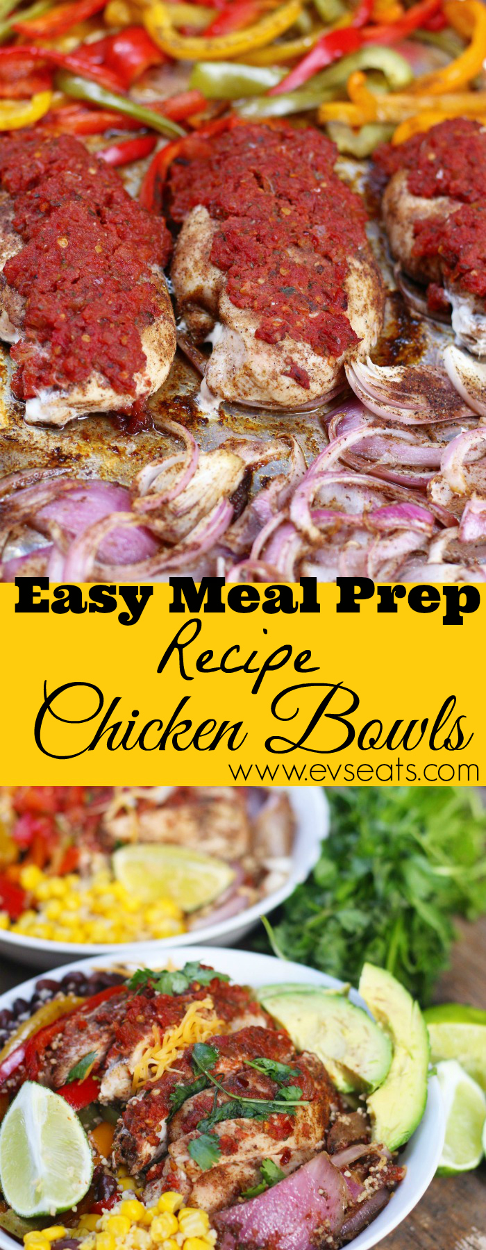 Meal prep made easy with Reynolds Heat and Eat Containers , and an easy chicken bowl recipe with fajita peppers and couscous made all in one pan!