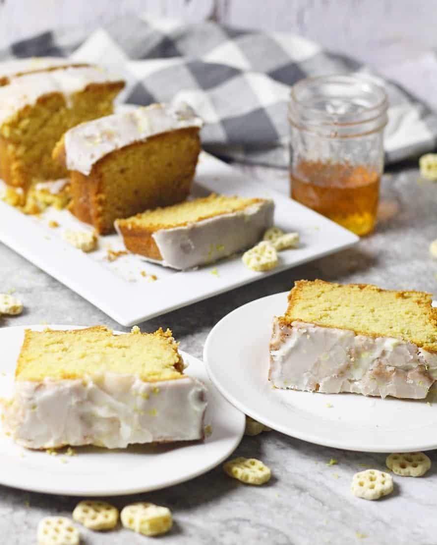 Honeycomb Cereal Pound Cake With Honey Lemon Glaze