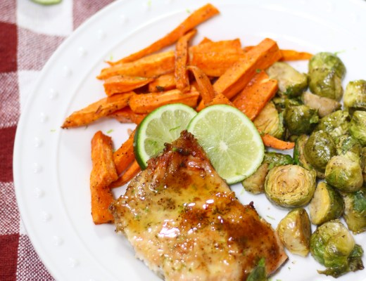 Dinner is ready in no time with this easy one pan Honey Glazed Salmon Sheet Pan Dinner. Stress free and clean up is a breeze!