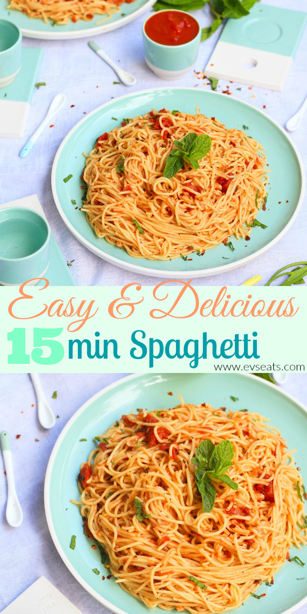 Every lazy cook's dream, this 15 minute spaghetti is easy, fast, and simply delicious!