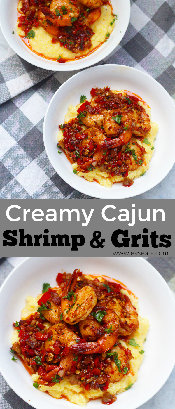 Creamy Cajun shrimp and grits, a classic Southern dish that's been elevated with flavors of sweet smoky shrimp and cream Parmesan grits.