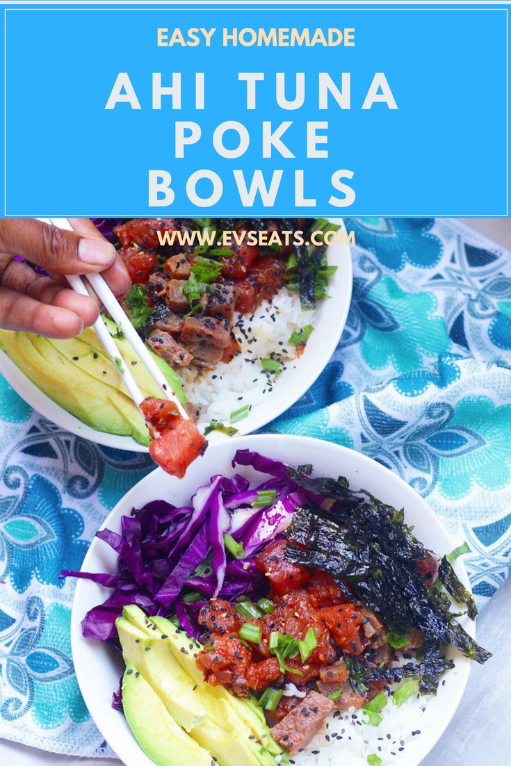 Hawaii style homemade ahi tuna poke bowls, loaded with ahi tuna and fresh veggies, and a simple 3 ingredients sauce. Super easy and delicious!