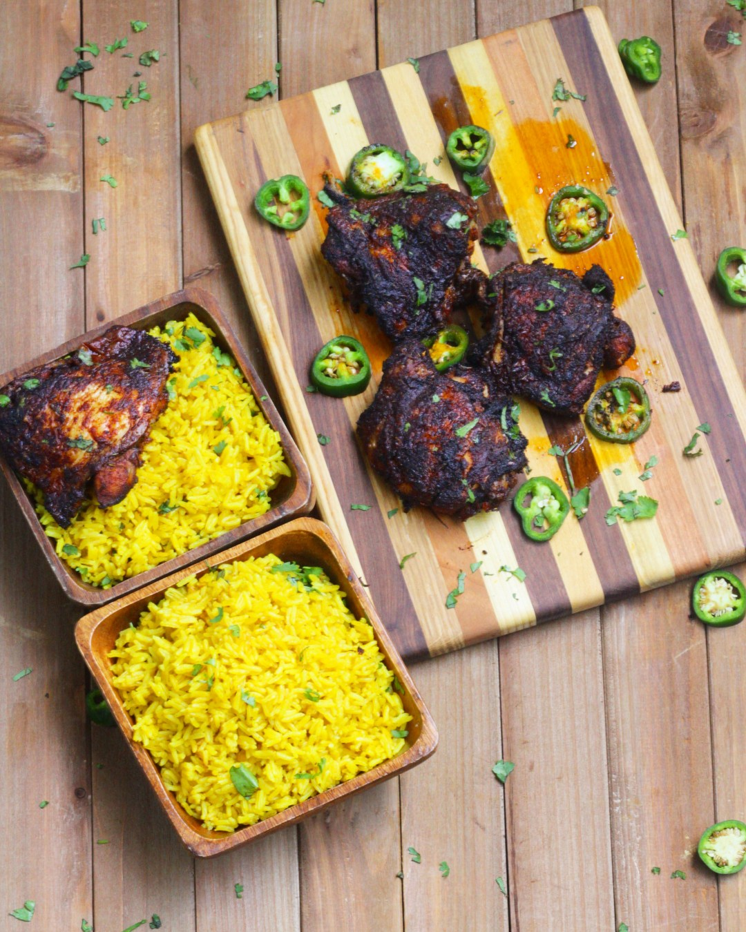 No Dinner Plans? Try these Harissa Chicken Thighs with Yellow Jasmine Rice! Flavorful North African spices in both the chicken and rice!