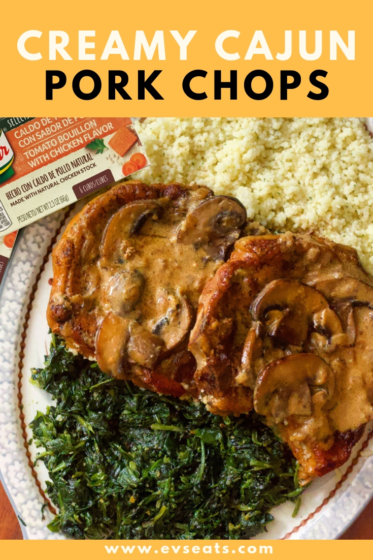 Delicious & juicy pork chops smothered in onions and mushrooms, in a spicy Cajun tomato cream sauce flavored with a Cubos de @Knorr Selects Caldo de Tomate bouillon cube! Have dinner ready in 30 minutes!  #ad #knorr #evseats