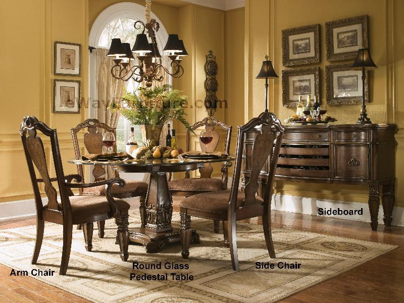 Versailles 60 Round Glass Top Dining Set