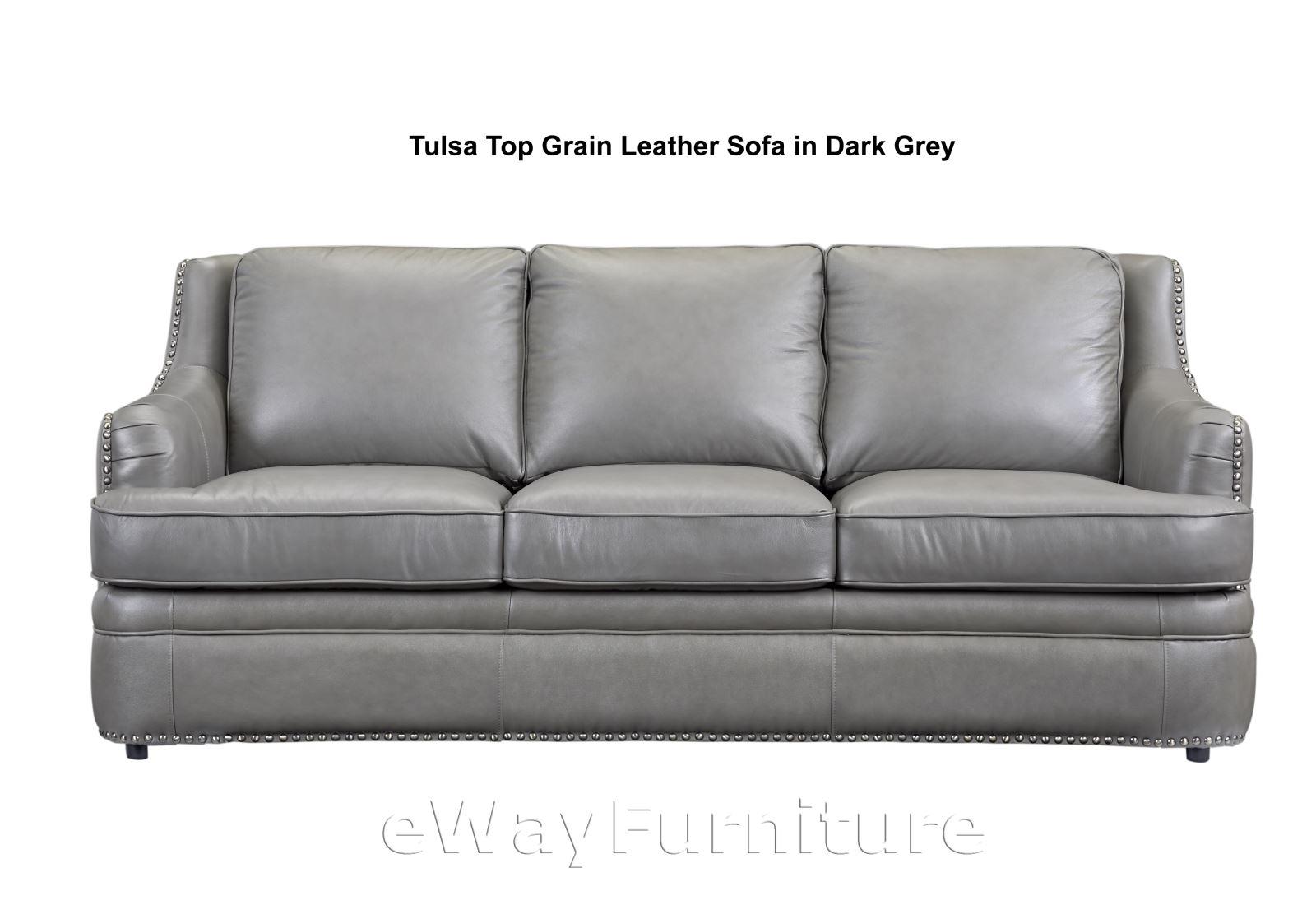 Tulsa Top Grain Leather Sofa In Dark Grey