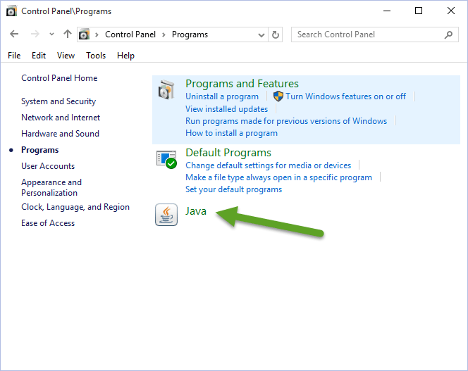 Windows Control Panel Programs