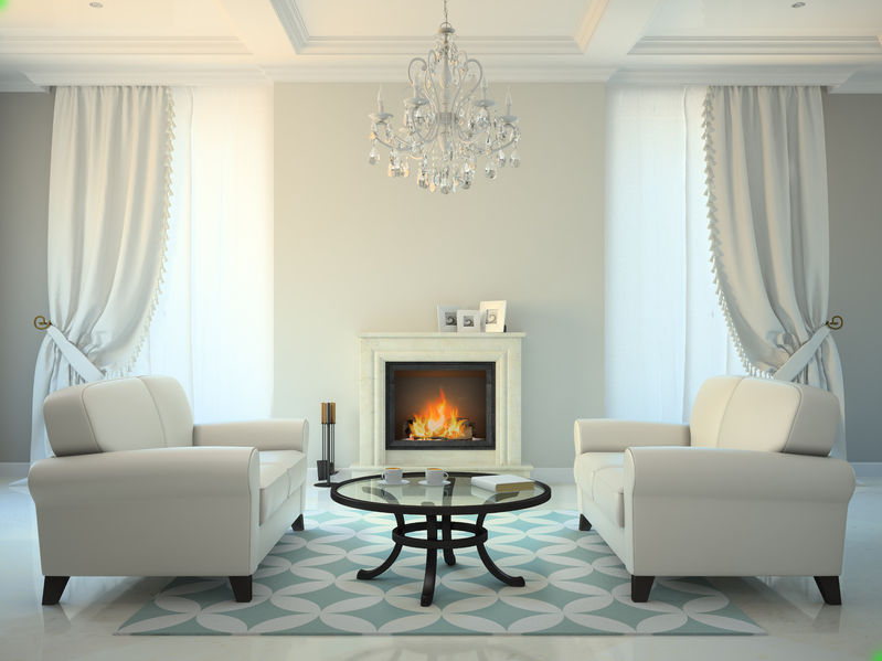 57655512 – classic style room with fireplace and white sofas 3d rendering