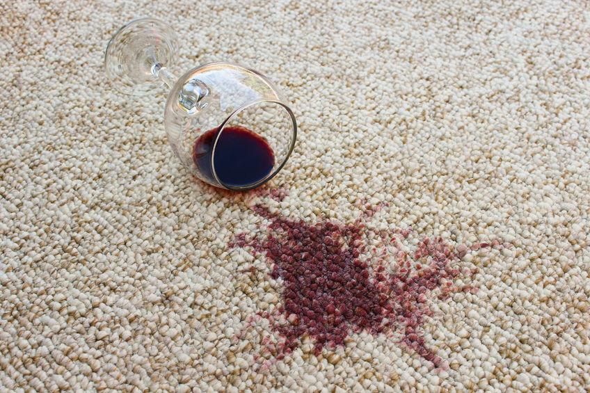 43929743 – glass of red wine fell on carpet, wine spilled on carpet