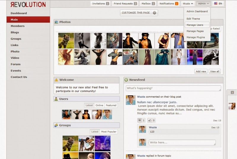 oxwall facebook theme download