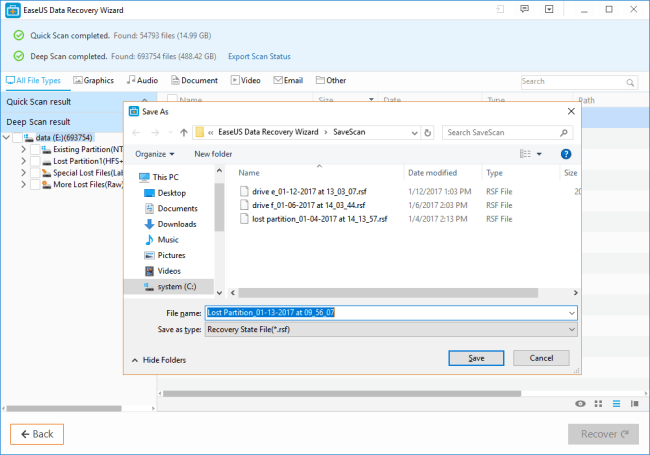 recover lost data with EaseUs app