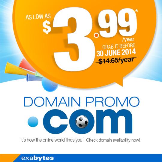 $3.99 .com domain promo