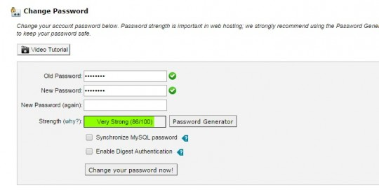 cPanel change password
