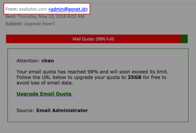 differentiate a real Exabytes email from a scam email