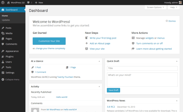 wordpress-default-dashboard