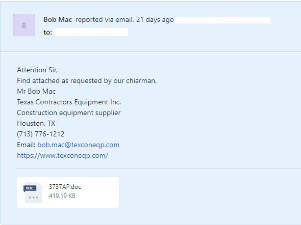 attachment scam email example