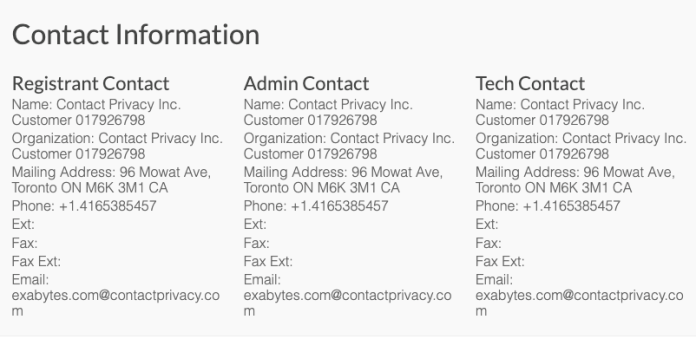 domain owner with privacy protection