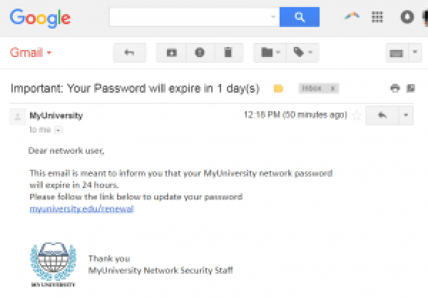 Phishing Attack Email