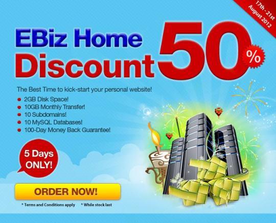 EBiz Home 50% discount