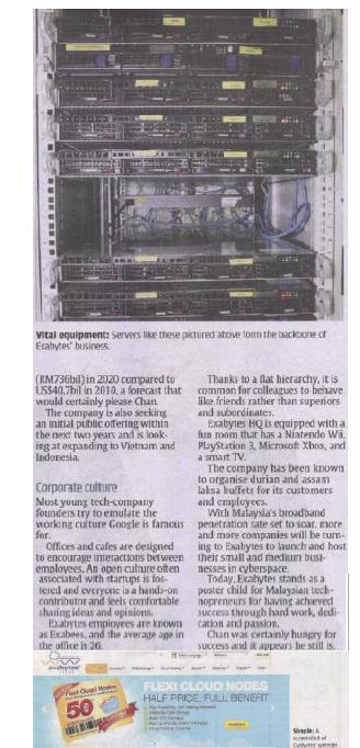 The Star News Paper report about Exabytes