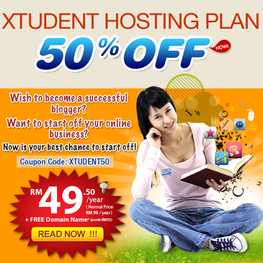 50% OFF Exabytes Xtudent Hosting Plan