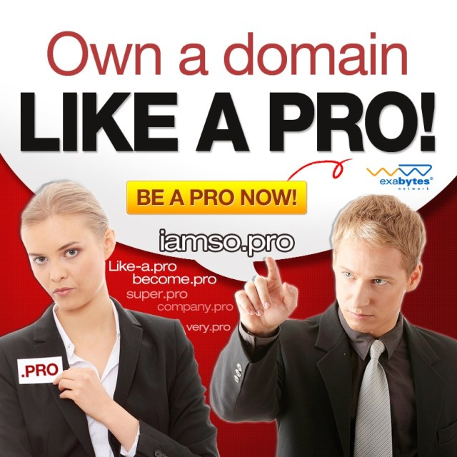 Buy .pro domain from Exabytes