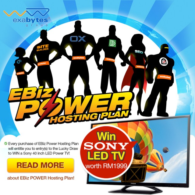 Exabytes EBiz Power Hosting Plan and win Sony LED TV