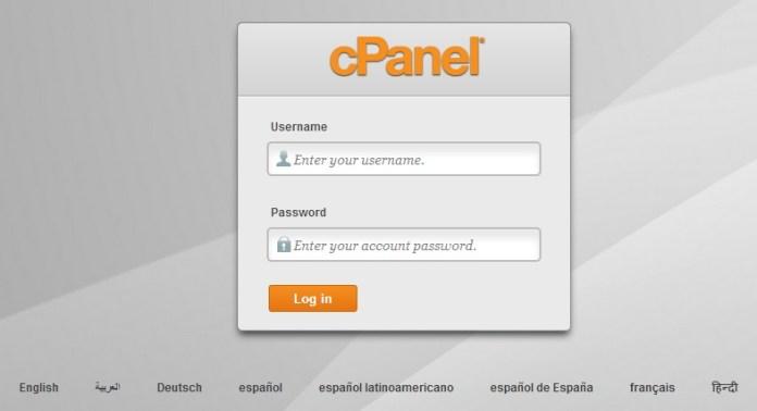 cPanel login panel