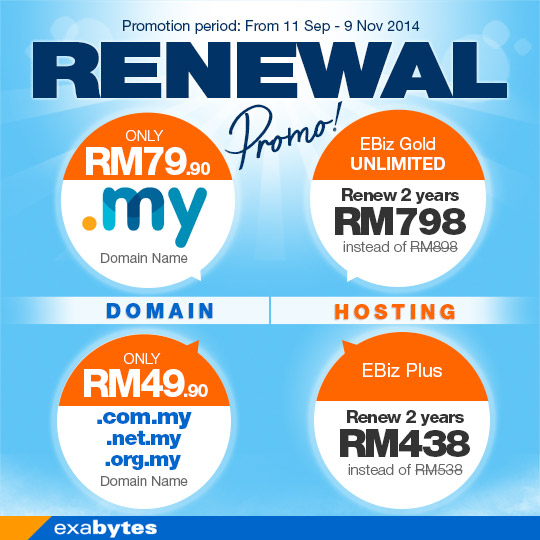 Exabytes renew and hosting promo