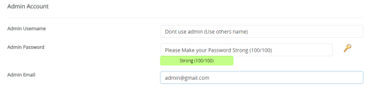 create password in Admin Account