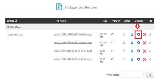 softaculous wordpress backup and restore