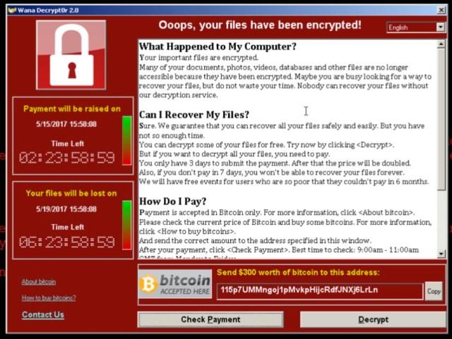 WannaCry Ransome screenshot