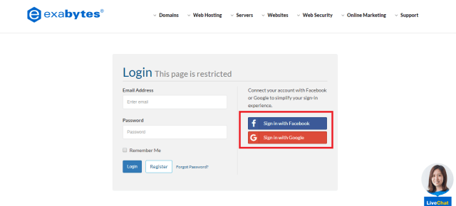 Exabytes client panel login