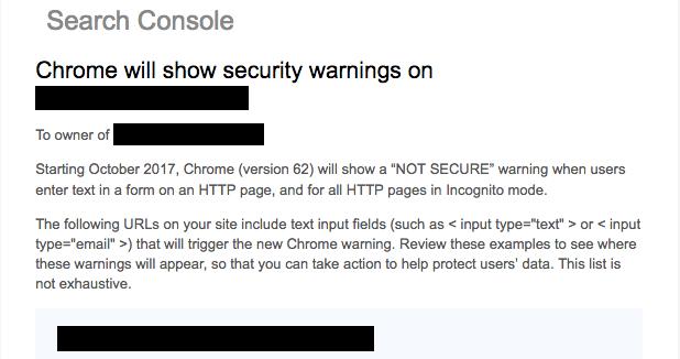 google notify http warning
