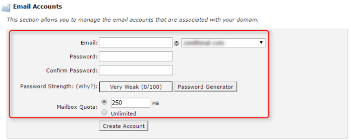 Info to create new email account