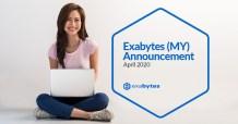 Exabytes april 2020 announcement