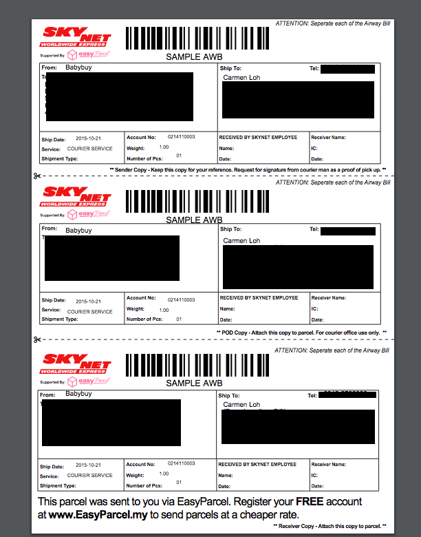 Air Waybill on parcel