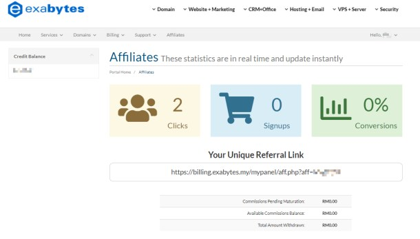 Exabytes Affiliate dashboard