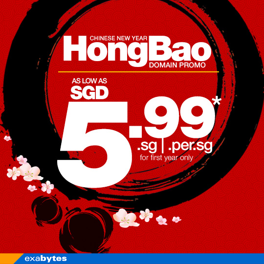 HongBao Promotion. .SG Domain at SGD5.99/yr