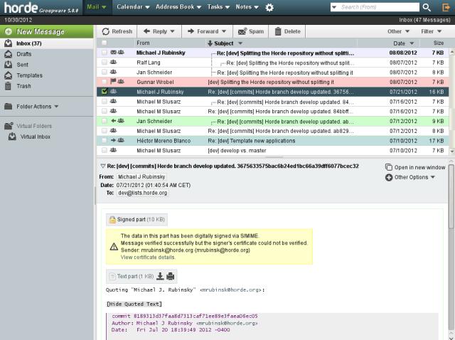 Horde webmail screenshot