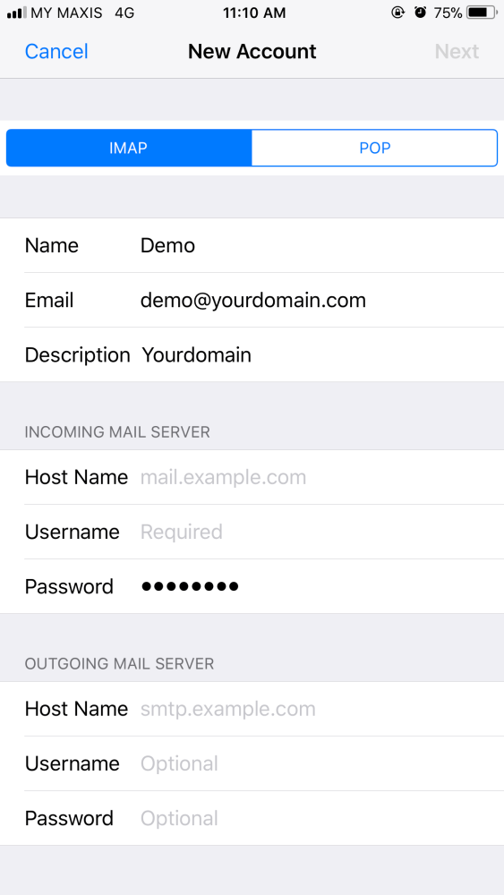 ios webmail account
