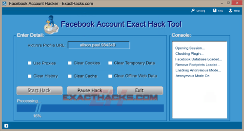 Facebook Account Exact Hacks Tool