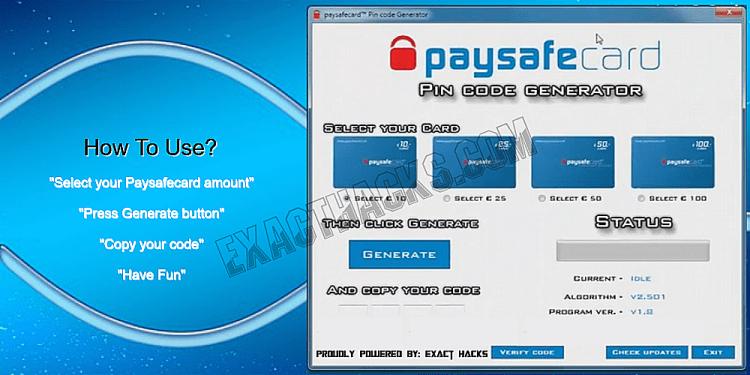 Paysafecard Pin Генератор Кодекси 2020