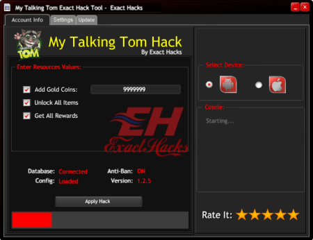 Talking Tom im Exact Hack Tool