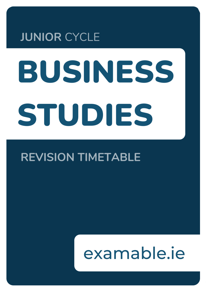 Junior Cycle Business Studies Revision Timetable Free