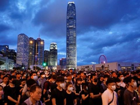Protesters gathered at Tamar Park in Hong Kong. Photo: CNS/Reuters