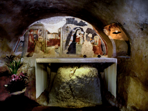 The small Chapel of the Nativity built in the grotto at the heart of the Sanctuary of Greccio, Italy. File photo: CNS