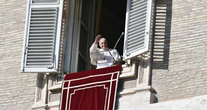 Pope Francis waves to the faithful in St. Peter's Square (Vatican Media)