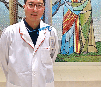 Father Yan at the chapel of Caritas Medical Centre.